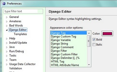Django Editor - plugin for Eclipse